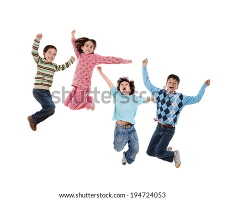 Four children jumping isolated on a white background - stock photo
