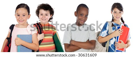 Four children students returning to school on a white background - stock photo