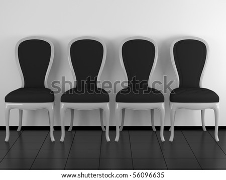 Four classic black and white chairs in the room, black floor and white wall, 3D interior render/illustration - stock photo