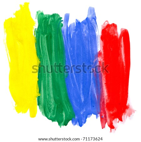 Four colored gouaches on white - stock photo