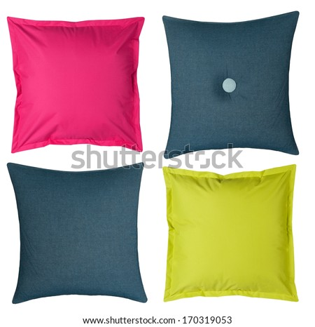 four colored pillows isolated on white background - stock photo