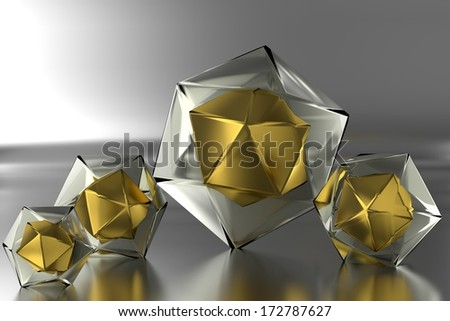 four colored prism on a smooth surface - stock photo