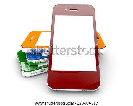 Four colored smartphones isolated on a white background with white copyspace on screen - stock photo