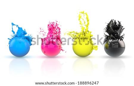 four colorful balls - stock photo