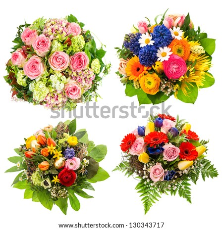 four colorful flowers bouquet for Birthday, Wedding, Mothers Day, Easter - stock photo