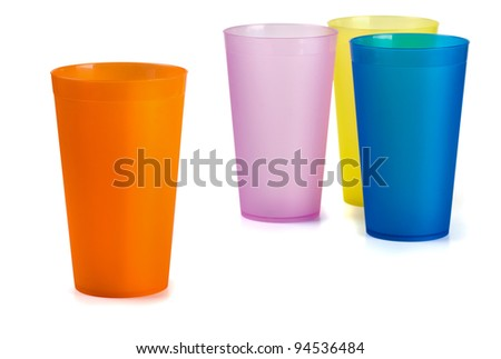 Four colorful plastic cups isolated on  white - stock photo