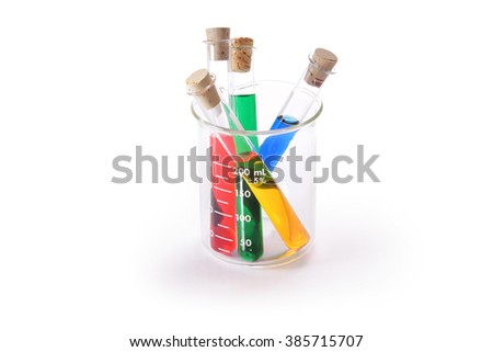 Four corked test tubes in a beaker with colorful liquids isolated on white - stock photo