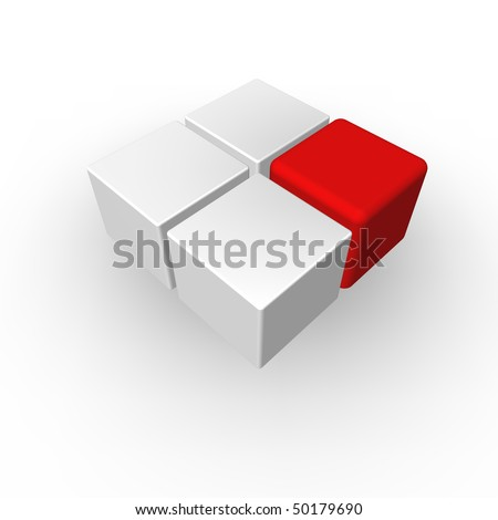 four cubes on white background - 3d illustration - stock photo