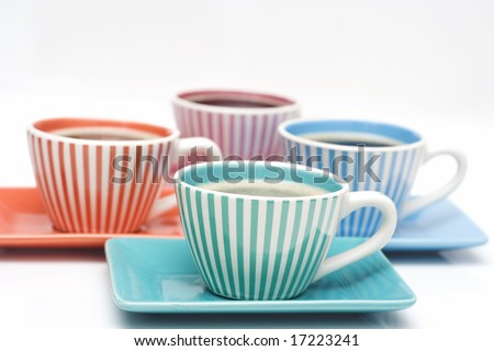 four cups of coffee isolated on white - stock photo