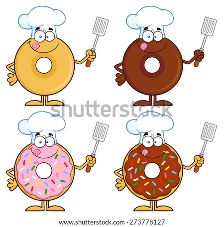 Four Cute Donuts Cartoon Character 4. Raster Collection Set Isolated On White - stock photo