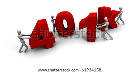 "Four 3D mannequins pushing together letters to form the word ""401k"" in red. - stock photo"
