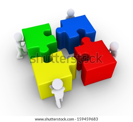 Four 3d people are pushing the big puzzle pieces in order to connect them - stock photo