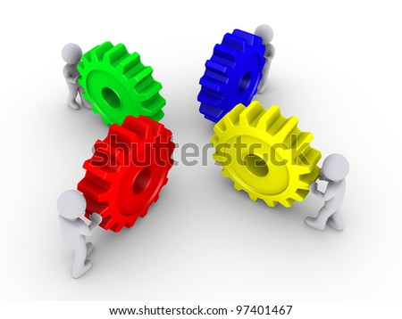 Four 3d people pushing different color cogwheels - stock photo