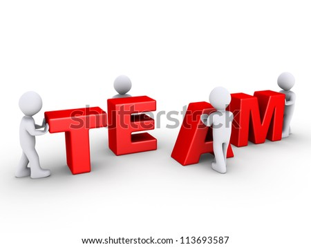 Four 3d persons are pushing team letters - stock photo