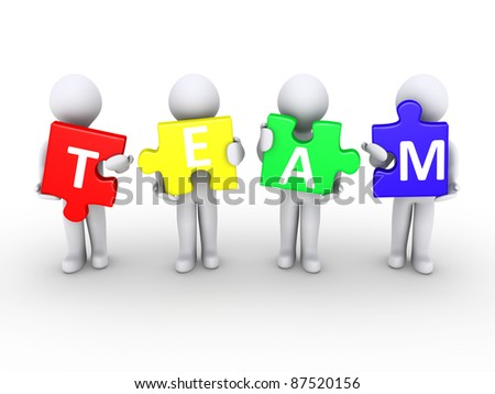 Four 3d persons holding puzzle pieces that form the word team - stock photo