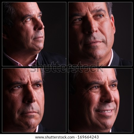 four diferent expressions of middle aged man - stock photo