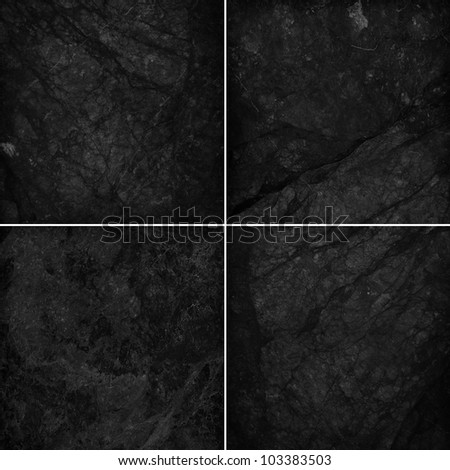 Four different black marble texture. (high.res.) - stock photo