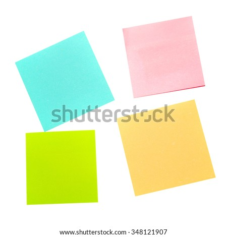Four different color paper stickers isolated on white background - stock photo