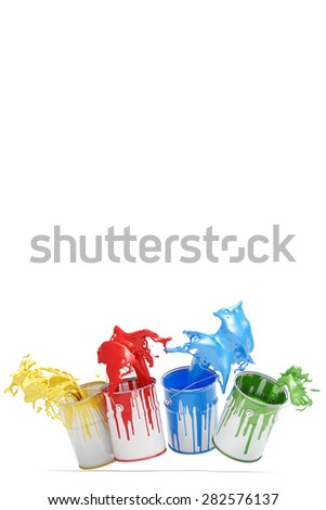 Four different colorful colors splashing from jumping paint cans (3D Rendering) - stock photo