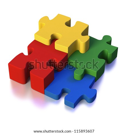 Four different parts of a puzzle or solution as red, green, blue and yellow pieces on white background - stock photo