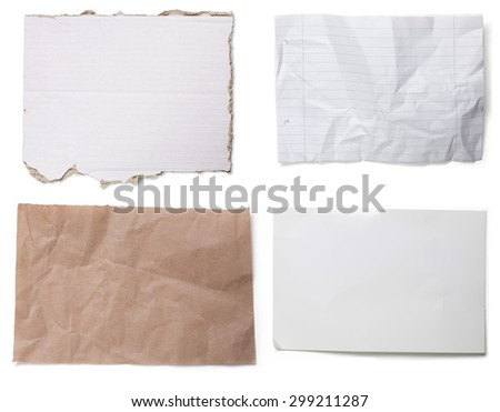 four different pieces of cardboard and paper, isolated on white - stock photo