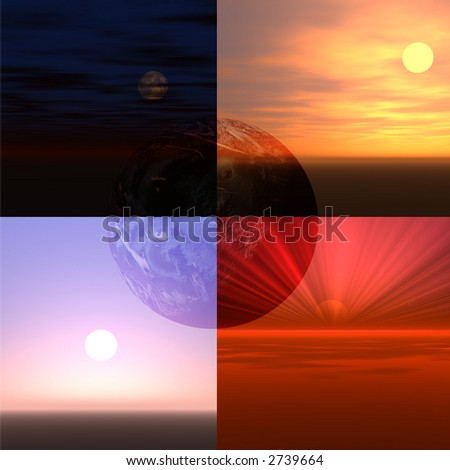 Four different views of Earth, the sun or moon. - stock photo