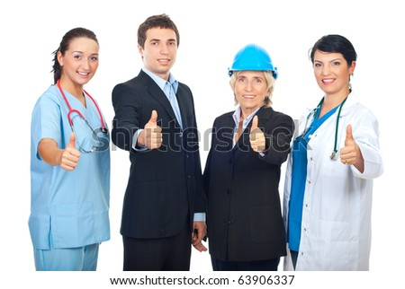 Four different workers giving thumbs up and standing in a row isolated on white background - stock photo