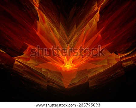 Four dimensional fiery flower in space, computer generated abstract background - stock photo