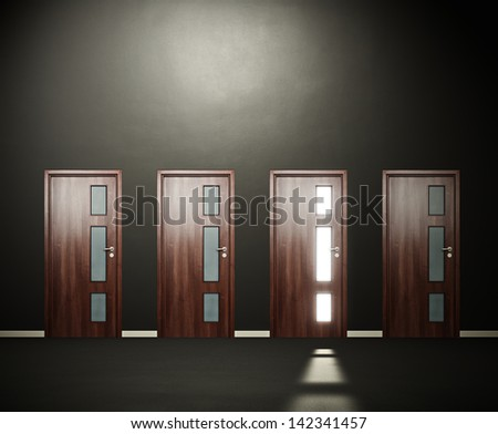 four doors in the dark room - stock photo