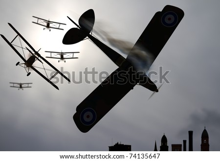 Four double wing vintage world war one biplanes shoot down enemy plane over city. Selective focus on lead biplane and enemy plane going down in flames. Stylized Original illustration - stock photo