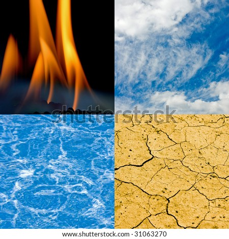 Four Elements, Air, Fire, Earth, Water - stock photo