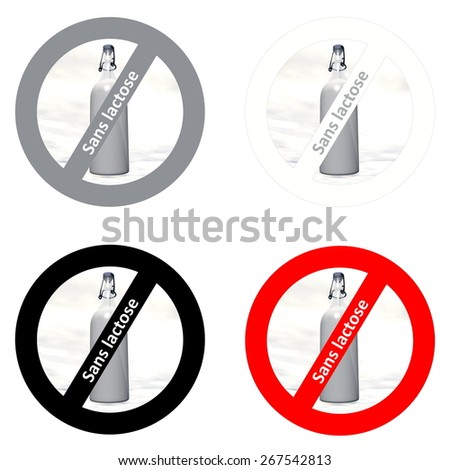Four french stickers for dairy free products in white background - stock photo