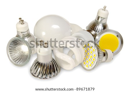 Four generations of light bulbs. - stock photo