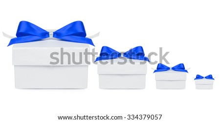 four Gift, gift box with a blue bow on a white background - stock photo