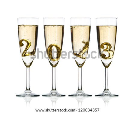 four glass goblet with champagne and  numeral 2013,  beautiful celebrations  New Year concept photo, on white background, isolated - stock photo