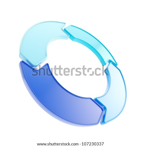 Four glossy arrow copyspace emblem circlular round tag isolated on white - stock photo