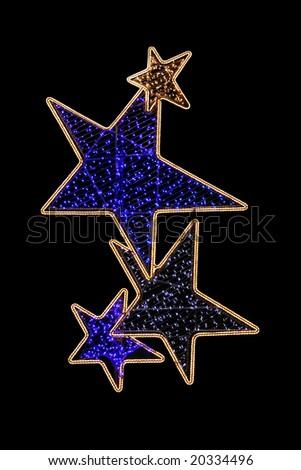 Four glow light stars for Christmas decoration - stock photo