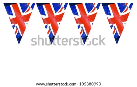Four Great Britain British Flag Buntings isolated on white background with room for your text - stock photo