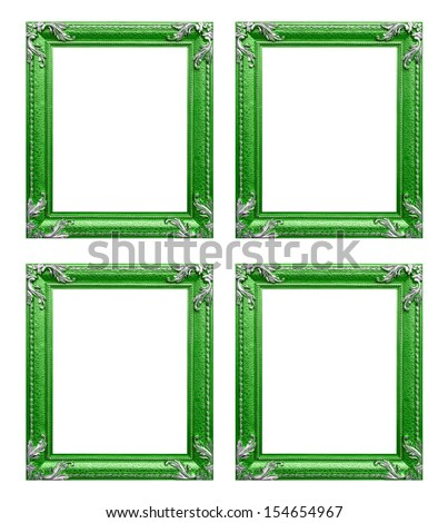 Four green  picture frames - stock photo