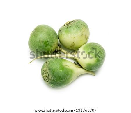 four green radishes on white background - stock photo