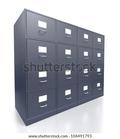 Four Grey Filing Cabinets with No Open Drawers on a white Background - stock photo