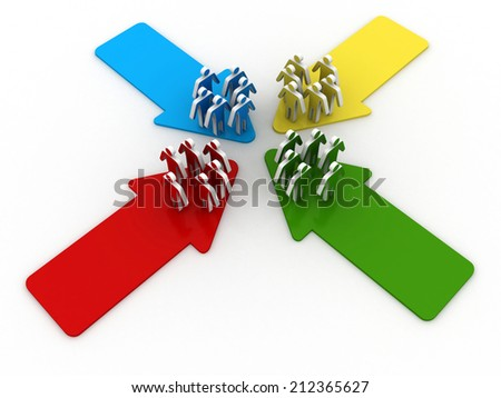 Four groups of people meet and connect at intersection of four arrows - stock photo
