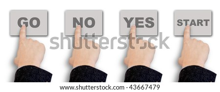 Four hand choosing the diferent options isolated in white background - stock photo