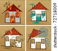 four hand drawn houses on brown paper - disasters - stock photo