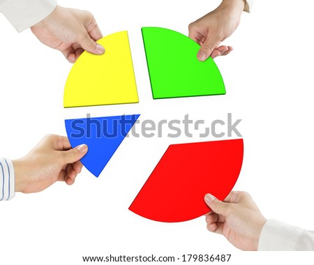 Four hands holding pie chart 3d isolated in white background - stock photo