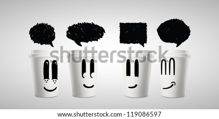 four happy paper cup of coffee with speech bubbles - stock photo