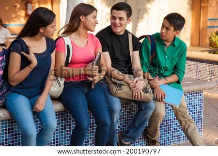 flirting teen girl after school: