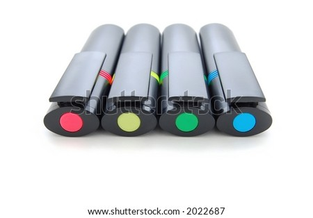 Four highlighter pens close-up, isolated on white - stock photo