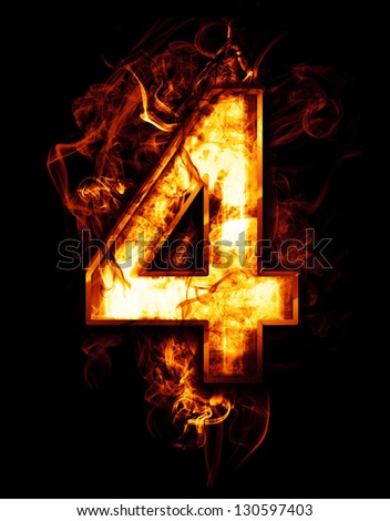 four, illustration of  number with chrome effects and red fire on black background - stock photo