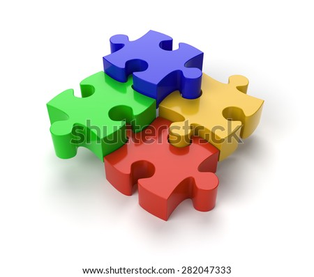 Four Jigsaw Puzzle Pieces on White Background with clipping path - stock photo